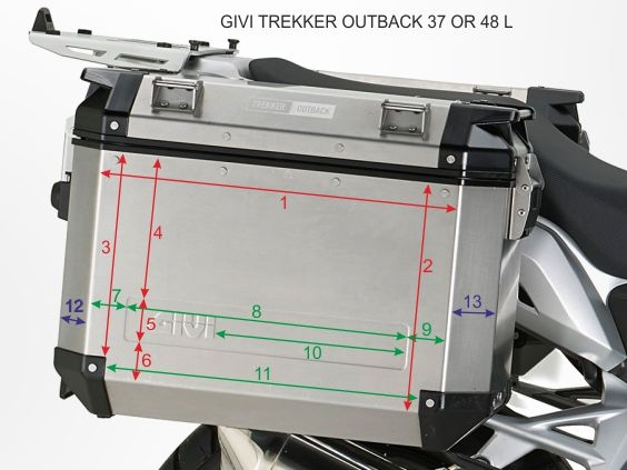 GIVI TREKKER OUTBACK 37 AND 48 LITERS MEASURES